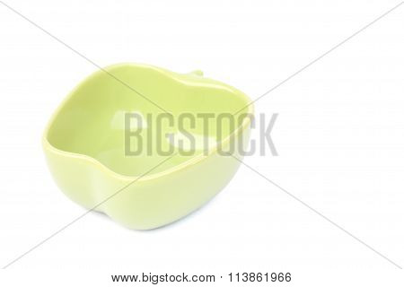 Green Ceramic Bowl Isolated On White Background