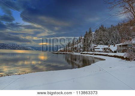 Okanagan Lake Kelowna British Columbia In Winter