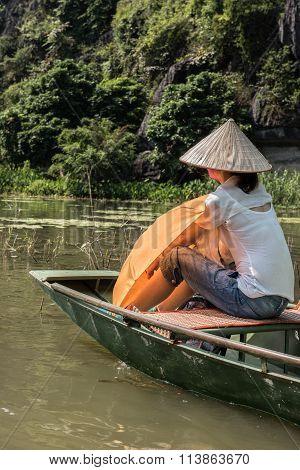 Female Tourist on River