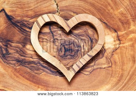 Wooden Heart On Wooden Background, Horicontal