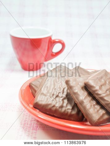 Milk Chocolate Pieces And Coffee Cup