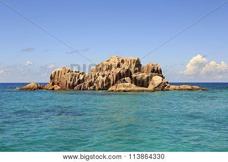 Beautiful Huge granite boulders of St. Pierre Island in Indian Ocean.