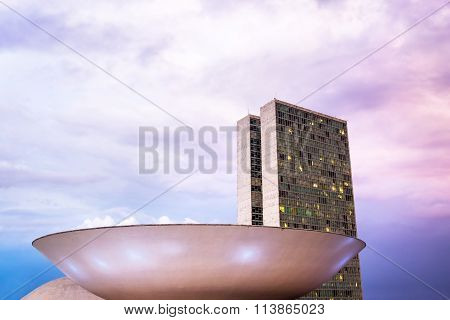 Congresso Nacional (national Congress) In Brasilia, Capital Of Brazil