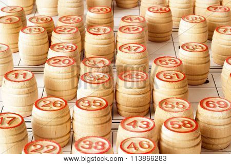 Wooden kegs and cards  for lotto or bingo game