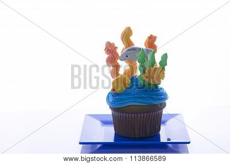 Aquatic Under the Sea cup cake on blue plate