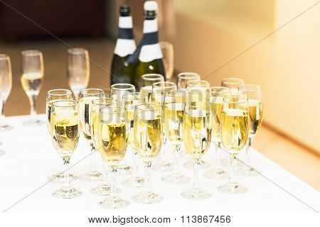 Glasses of champagne for a celebration