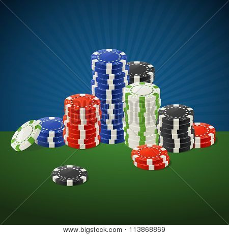 Casino Gambling Chips Stacks. Vector