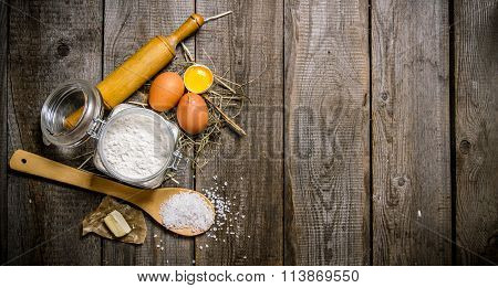 Preparation Of The Dough. Ingredients For The Dough - Flour, Eggs, Salt And Butter.