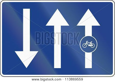 Road Sign Used In Spain - Bike Path Or Cycle Path Attached To The Road