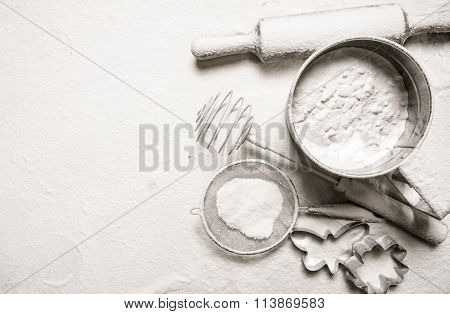 Ingredients For Dough - Sieve Flour, Rolling Pin, Cookie Cutters.