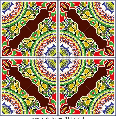 Stained-glass window. Seamless elegant Ornamental pattern.Ceramic tiles.