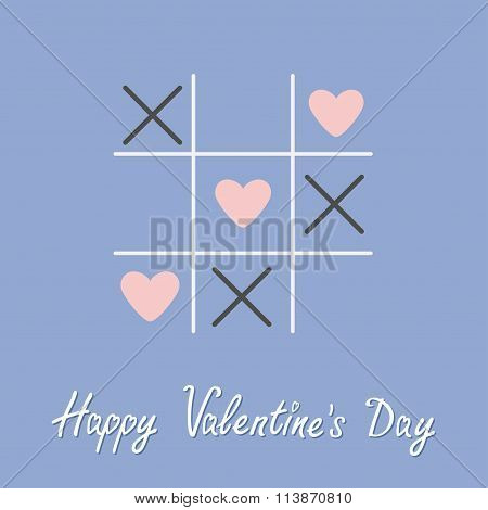 Tic Tac Toe Game With Cross And Three Heart Sign Mark Happy Valentines Day Card Flat Design Rose Qua