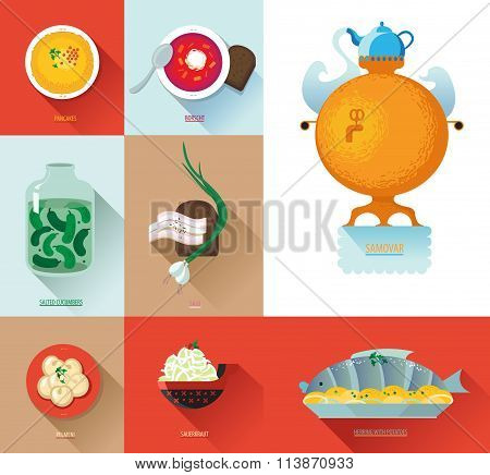 Set Russian National Food. Food Illustration Russian Cuisine With Pancake, Dumplings, Borscht, Samov