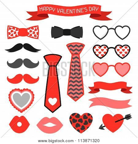 Happy valentines day icons set. Hipster objects and love holiday symbols.