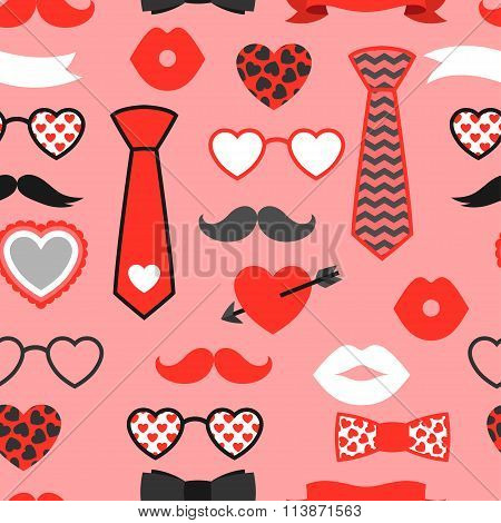 Happy valentines day seamless pattern. Hipster objects and love holiday symbols.