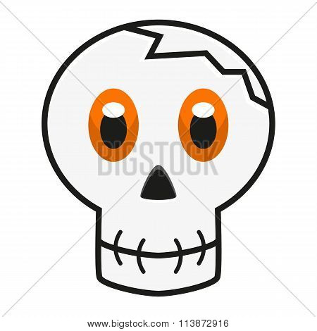 Illustration Of Skull With Orange Eyes