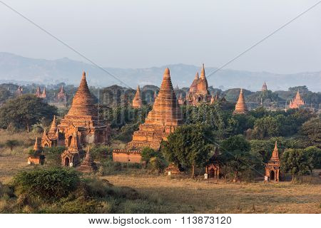 View From The Shwe Sandaw Pagoda During Sunset In Bagan, Myanmar