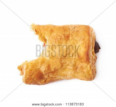 Pastry bun with sausage isolated