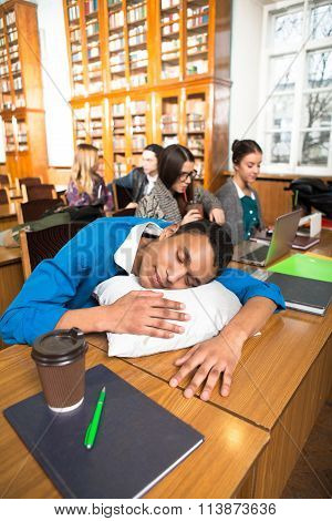 Man sleeping during lessons or classes