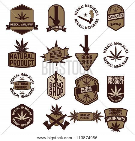 Set Of Marijuana Labels