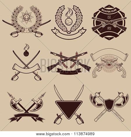 Set Of Weapon Club Emblems