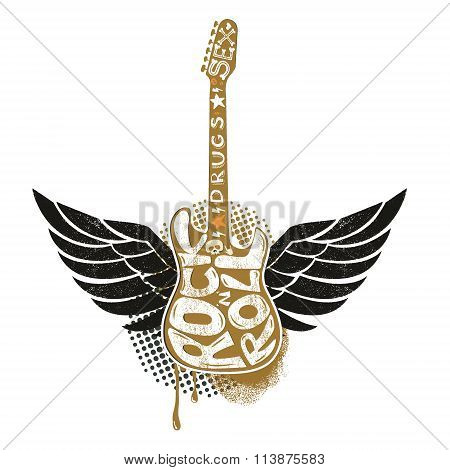Guitar With Wings On Grunge Background.