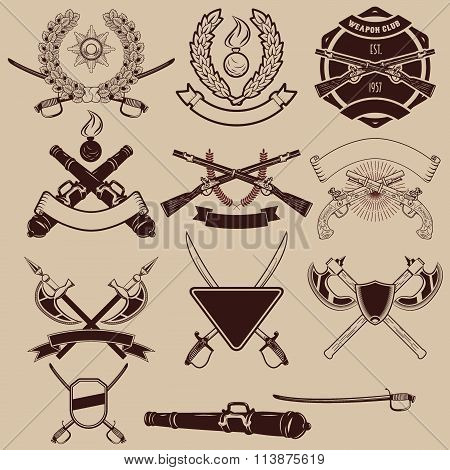 Set Of Weapon Club Emblems