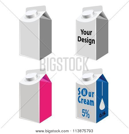 Blank Milk And Juice Carton Packages Isolated On White.
