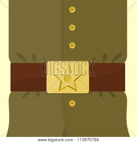 Soldiers Retro Clothing. Strap And Buckle With Star. Vintage Military Uniform. Green Uniforms Of  Ru