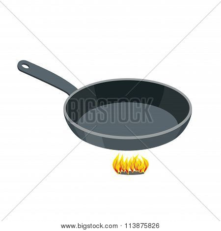 Pan On White Background. Empty Iron Frying Pan On High Heat. Kitchen Utensils For Frying Food.