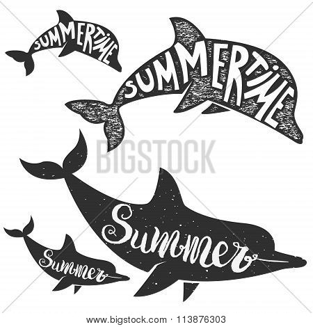 Dolphins With Lettering. Summer Time.