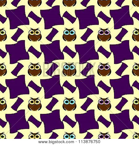 Seamless Vector Illustration With Colored Owls On Purple Background For Children