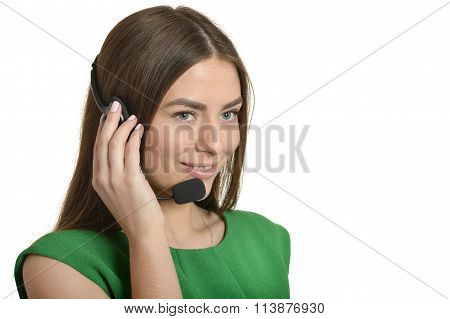 Service operator woman with headset