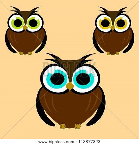 Vector Illustration With Colored Owls On Cream Background For Children