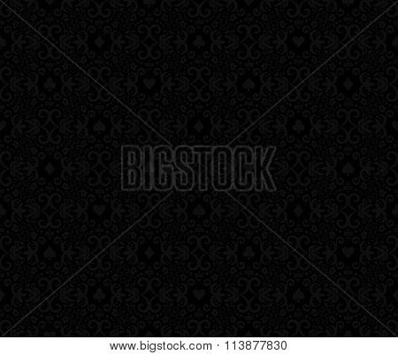 Black Seamless Poker Background With Darkgrey Damask Pattern And Cards Symbols
