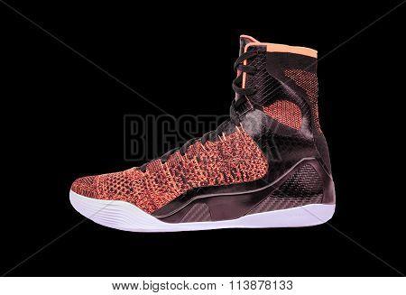 Modern High-top Orange And Black Basketball Shoe Sneaker