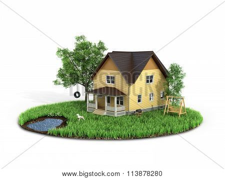 Concept Of Sweet Home. House With On The Grass With Trees On The Island Is Flying On A White Backgro
