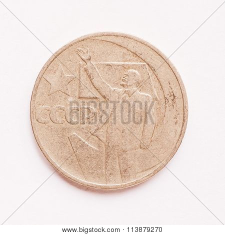 Vintage Russian Ruble Coin Vintage