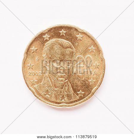 Greek 20 Cent Coin Vintage