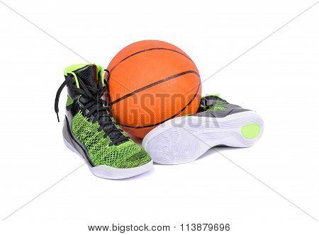 Modern High-top Green And Black Basketball Shoe Sneaker