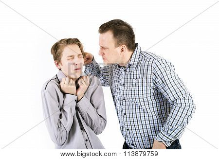 Strict father punishes his son isolated on white background. Concept of emotions.