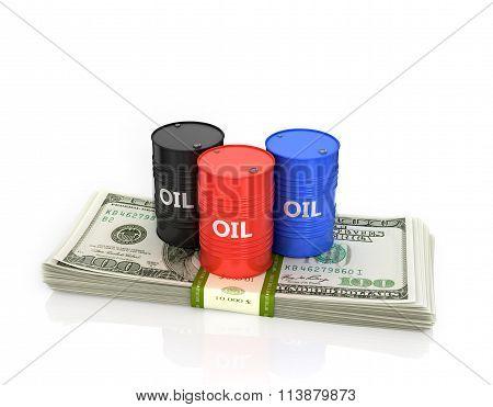 Three Oil Barrels On A Pack Of Dollars.