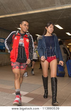 Couple Without Pants On The Subway
