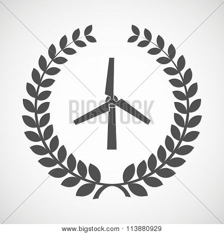 Isolated Laurel Wreath Icon With A Wind Generator