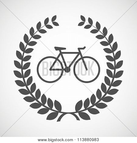 Isolated Laurel Wreath Icon With A Bicycle