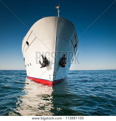White ship in the water of lake Baikal