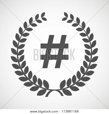Isolated Laurel Wreath Icon With A Hash Tag