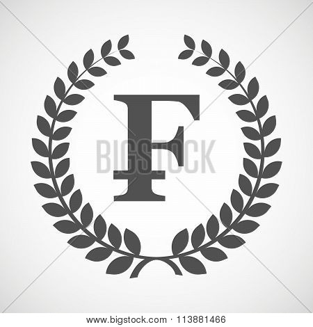Isolated Laurel Wreath Icon With A Swiss Franc Sign