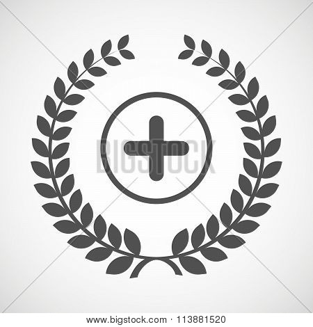 Isolated Laurel Wreath Icon With A Sum Sign