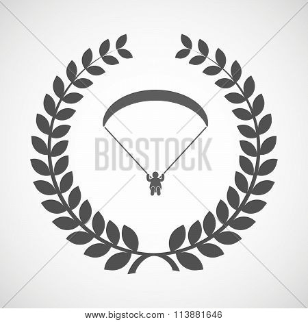 Isolated Laurel Wreath Icon With A Paraglider